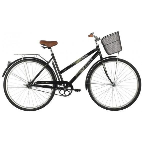 """Велосипед FOXX 28"""" FIESTA черный, сталь, размер 20"""" + передняя корзина"""