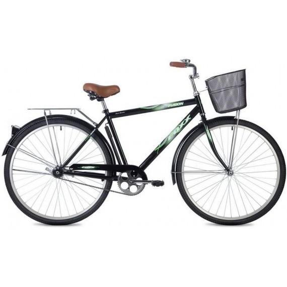 """Велосипед FOXX 28"""" FUSION черный, сталь, размер 20"""" + передняя корзина"""
