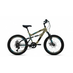 """Велосипед ALTAIR MTB FS 20 disc (20"""" 6 ск. рост 14"""") 2020-2021, бежевый/черный, RBKT1F106002"""