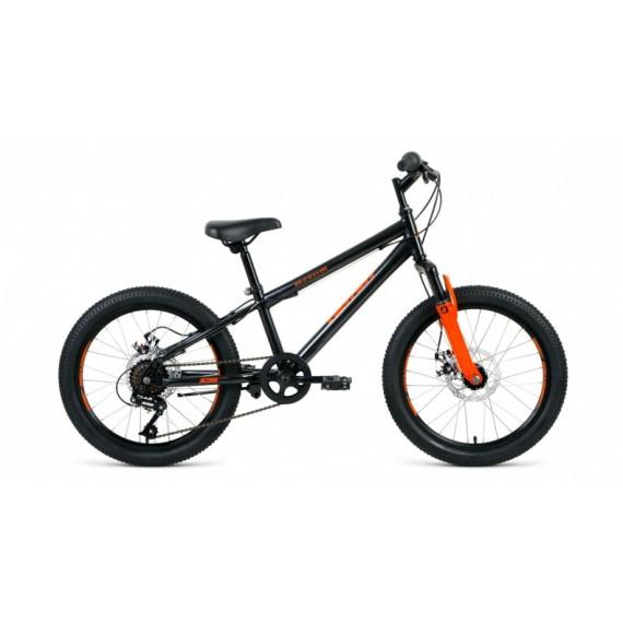 """Велосипед ALTAIR MTB HT 20 2.0 disc (20"""" 6 ск. рост 10.5"""") 2020-2021, черный/оранжевый, RBKT11N06002"""
