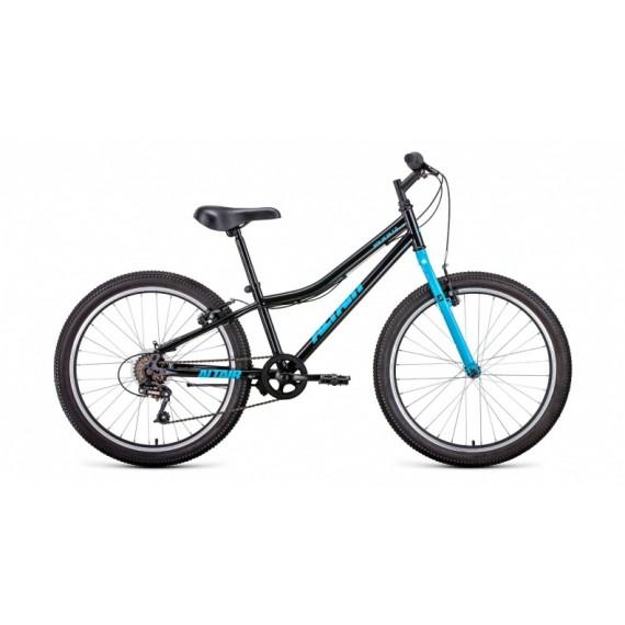 """Велосипед ALTAIR MTB HT 24 1.0 (24"""" 6 ск. рост 12"""") 2020-2021, черный/голубой, RBKT11N46002"""