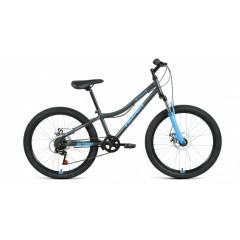 """Велосипед ALTAIR MTB HT 24 2.0 disc (24"""" 6 ск. рост 12"""") 2020-2021, темно-серый/голубой, RBKT11N4P00"""