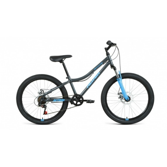 """Велосипед ALTAIR MTB HT 24 2.0 disc (24"""" 6 ск. рост 12"""") 2020-2021, черный/бирюзовый, RBKT11N4P002"""