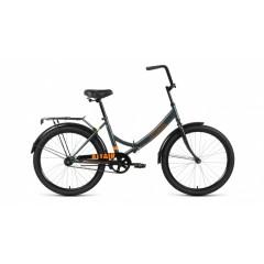 """Велосипед ALTAIR CITY 24 (24"""" 1 ск. рост 16"""" скл.) 2020-2021, темно-серый/оранжевый, RBKT1YF41003"""