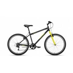 """Велосипед ALTAIR MTB HT 26 1.0 (26"""" 7 ск. рост 19"""") 2020-2021, черный/желтый, RBKT1MN66006"""