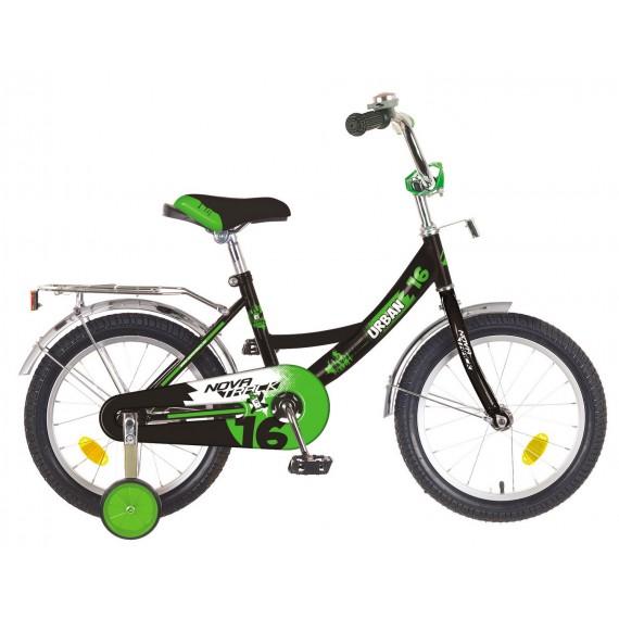 """Велосипед NOVATRACK 16"""" URBAN чёрный, полная защ.цепи, тормоз нож, крылья и багажник хром"""
