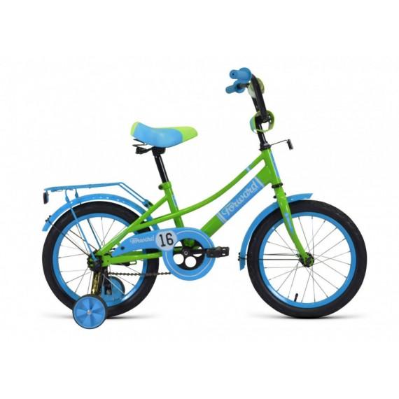 """Велосипед FORWARD METEOR 16 (16"""" 1ск) голубой/зеленый"""