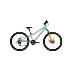 "Велосипед FORWARD RISE 24 2.0 disc алюм. (24"" 7ск) голубой /оранжевый /, RBKW01647003"