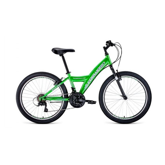 "Велосипед FORWARD DAKOTA 24 1.0 (24"" 18 ск. рост 13"") 2020-2021, зеленый/белый, RBKW1J14E003"