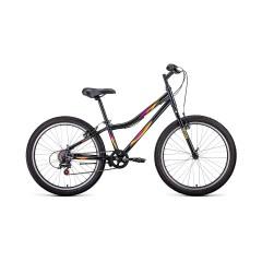 """Велосипед FORWARD IRIS 24 1.0 (24"""" 6 ск. рост 12"""") 2020-2021, темно-серый/розовый"""