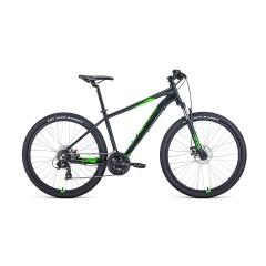 """Велосипед FORWARD APACHE 27,5 2.0 disc (27,5"""" 21 ск. рост 17"""") 2020-2021, черный матовый/ярко-зелены"""
