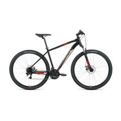 """Велосипед FORWARD APACHE 29 2.2 S disc (29"""" 21 ск. рост 19"""") 2020-2021, черный/красный"""
