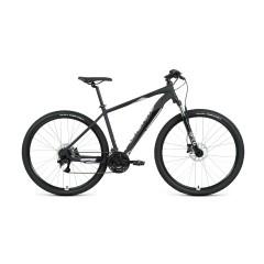 """Велосипед FORWARD APACHE 29 3.2 disc (29"""" 21 ск. рост 17"""") 2020-2021, черный матовый/серебристый"""
