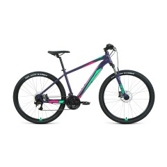 """Велосипед FORWARD APACHE 27,5 3.2 disc (27,5"""" 21 ск. рост 21"""") 2020-2021, фиолетовый/зеленый"""