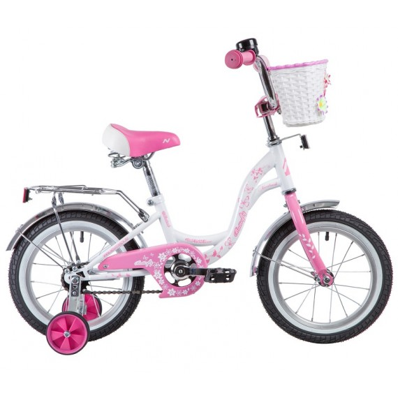 "Велосипед NOVATRACK 14"" BUTTERFLY белый-розовый, тормоз нож, крылья и багаж хром, корз, полн защ"