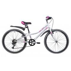 "Велосипед NOVATRACK 24"" ALICE, сталь.рама 10"" белый, 6-скор, TY21/TS38/SG-6SI, V-brake"