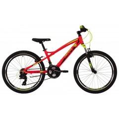 """Велосипед NOVATRACK 24"""" TORNADO, алюм.рама 13"""", красный, 21-скор, TY300/TS38/TZ500, гидравл.торм."""