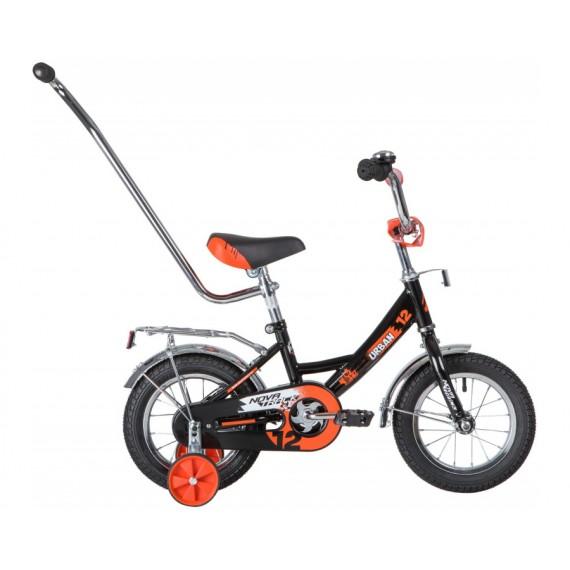 """Велосипед NOVATRACK 12"""" URBAN чёрный, полная защита цепи, тормоз нож., крылья и баг хром, упр.ручк"""