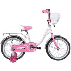 "Велосипед NOVATRACK 16"" BUTTERFLY белый-розовый, тормоз нож, крылья и багаж хром, корз, полн защ.цеп"