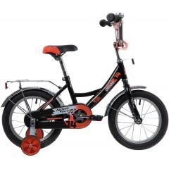 """Велосипед NOVATRACK 14"""" URBAN чёрный, полная защ.цепи, тормоз нож, крылья и багажник хром"""