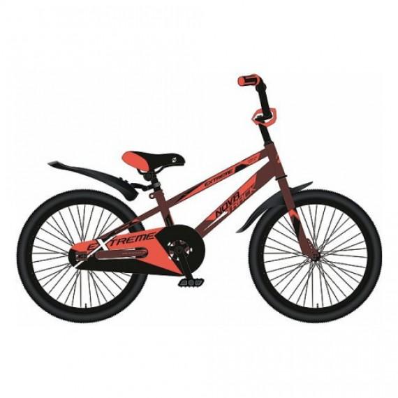 """Велосипед NOVATRACK 16"""", EXTREME, коричневый, полная защита цепи,  тормоз нож, короткие крылья"""