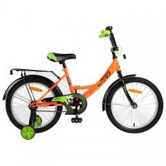"""Велосипед NOVATRACK 18"""", VECTOR, оранжевый, защита А-тип, тормоз нож., крылья и багажник чёрн."""