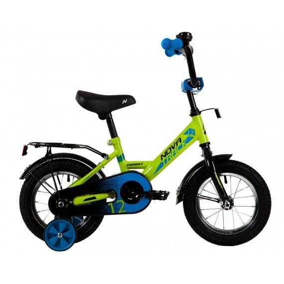 """Велосипед NOVATRACK 12"""" FOREST зеленый, сталь, тормоз нож, крылья, багажник, полная защ.цепи"""