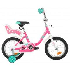 """Велосипед NOVATRACK 14"""" MAPLE, розовый, полная защита цепи, тормоз нож, крылья цвет, сидение для кук"""