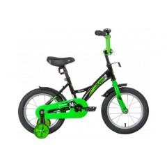"""Велосипед NOVATRACK 14"""" STRIKE чёрный-зелёный, тормоз нож, крылья корот, полная защ.цепи"""