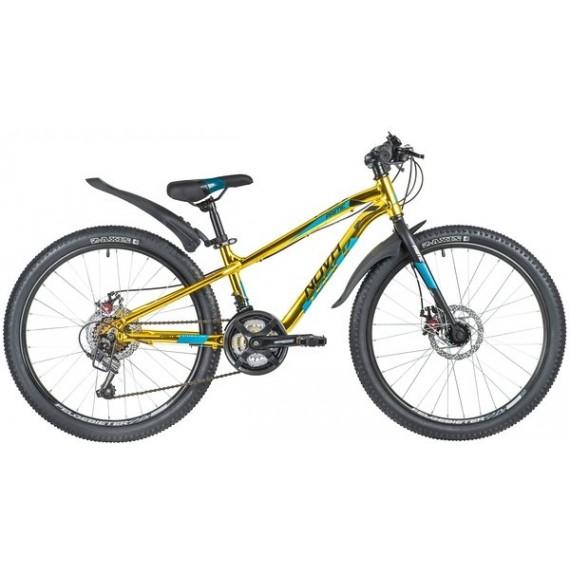 "Велосипед NOVATRACK 24"" PRIME алюм.рама 11"", золотой металлик, 18-скор, TY21/TS38/SG-6SI, диск.торм."